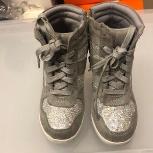Girls Glitter Wedge Sneakers Size 2